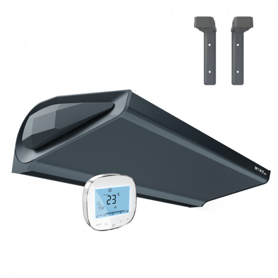 Air Curtain WING E100 EC with electric heaters DARK (RAL7016) + Holder set + Controller